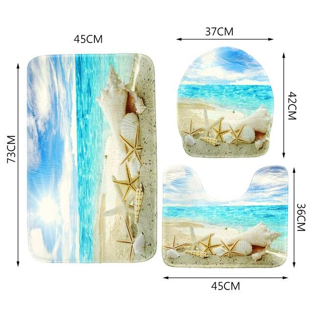 1 set 3 pz Tappetini Da Bagno Al Mare spiaggia Anti Slip Wc Modello Tappeto + 1 pz Impermeabile Bagno Doccia Spiaggia tenda Della stanza da bagno