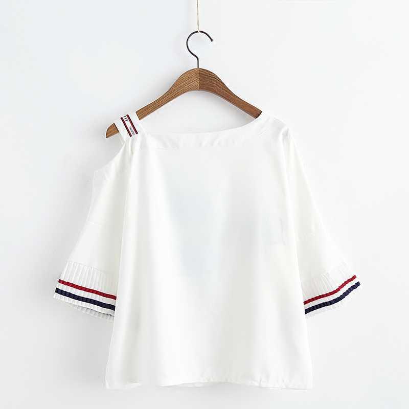אופנה נשים צמרות חולצה קטנה טרי מתוקה כתף חשופה שרוול התלקחות O-צוואר Harajuku 2018 הדפסה מקרית Blusas Feminina A170