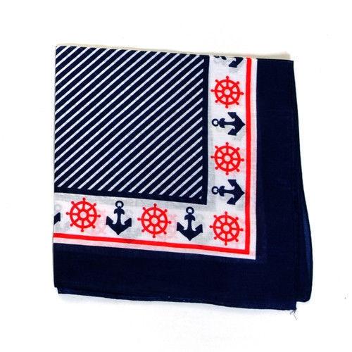 Free Shipping 2018 New Navy Orange Rockabilly Pin Up 50s Anchor & Helm Bandanas Nautical Headband, rosie the riveter, Scarf