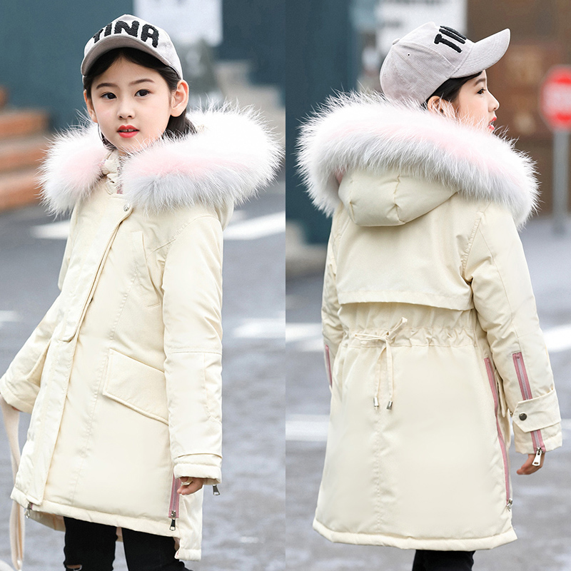 XYF1801 Girl Winter 100% White Duck Down Coat Kids Big Fur Collar Keep Warm Thick Hooded Jacket Long Outerwear Child Windbreaker 2018 cold winter warm thick baby child girl hoody long outerwear pink duck down