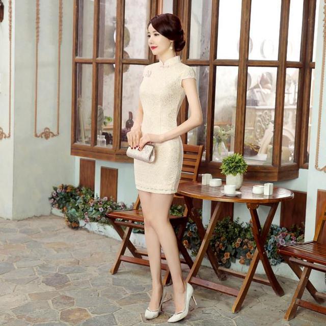 High Quality Beige Chinese Women's Lace Qipao Sexy Slim Short Cheongsam Summer Hot Sale Mini Dress Flowers S M L XL XXL LGD28