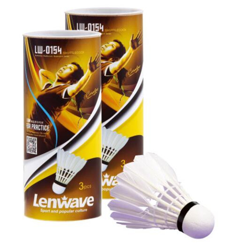 3 pieces / batch wholesale white fiber badminton free shipping lenwave badminton badminton ordinary for entertainment badminton
