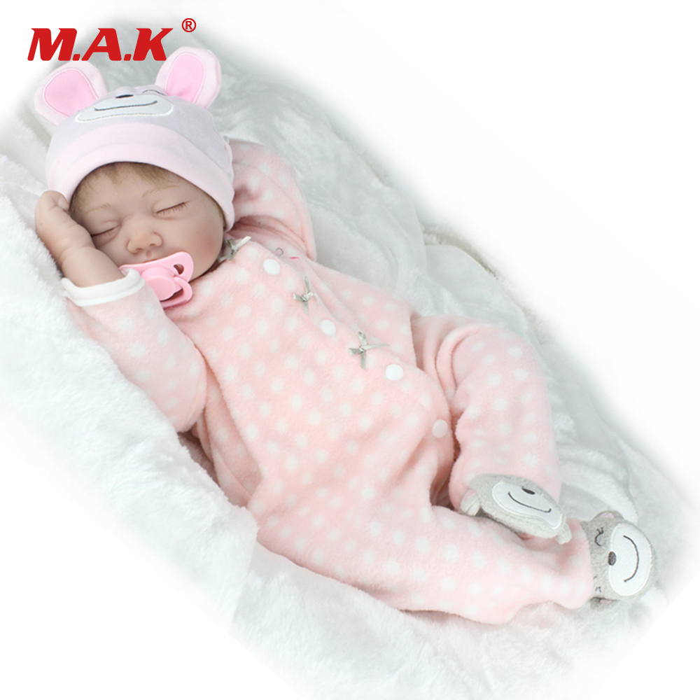 22 inches 55 cm Sleepling Baby Reborn Dolls Lifelike Realistic Silicone Vinyl Girl Bebe Dolls Reborn Doll for Children Gift