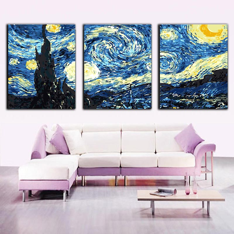 HTB1PM4sXdfvK1RjSszhq6AcGFXaA 3 pcs DIY Oil Painting by Numbers Flower Triptych Pictures Animal Coloring Landscape Abstract Paint Wall Sticker Home Decor Gift