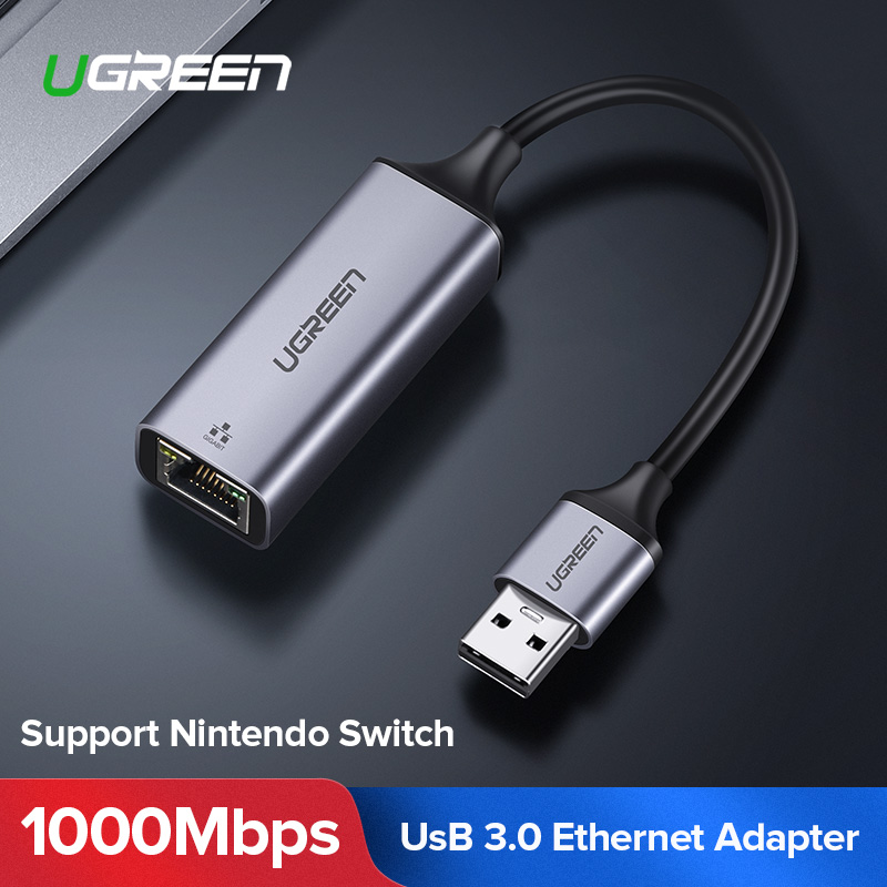 Ugreen USB Ethernet Adapter USB 3.0 2.0 ქსელის ბარათი RJ45 Lan- ით Windows 10 Xiaomi Mi Box 3 Nintend Switch Ethernet USB