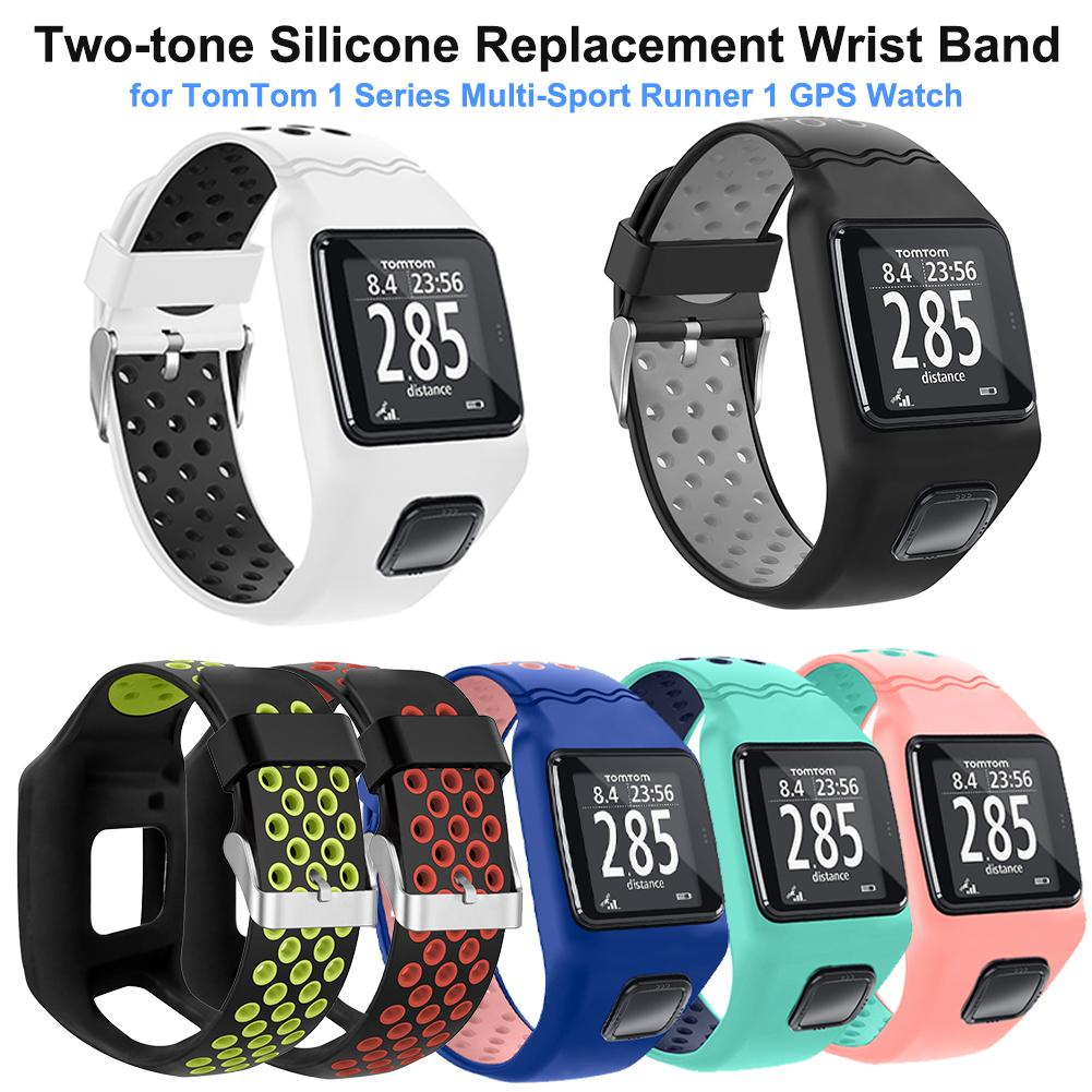 New Silicone Replacement Watchband For TomTom 1 Series Two-tone Wrist Band Strap For TomTom Multi-Sport Runner 1 GPS Watch