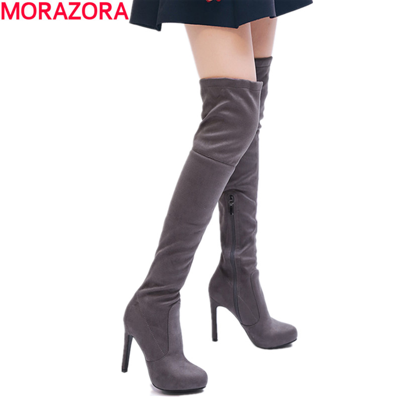 MORAZORA Plus size 34-43 spuer high heels over the knee boots stretch flock solid zipper sexy women boots ladies thigh high boot morazora plus size 34 43 new high quality kid suede thigh high boots women shoes over the knee stretch spring autumn botas