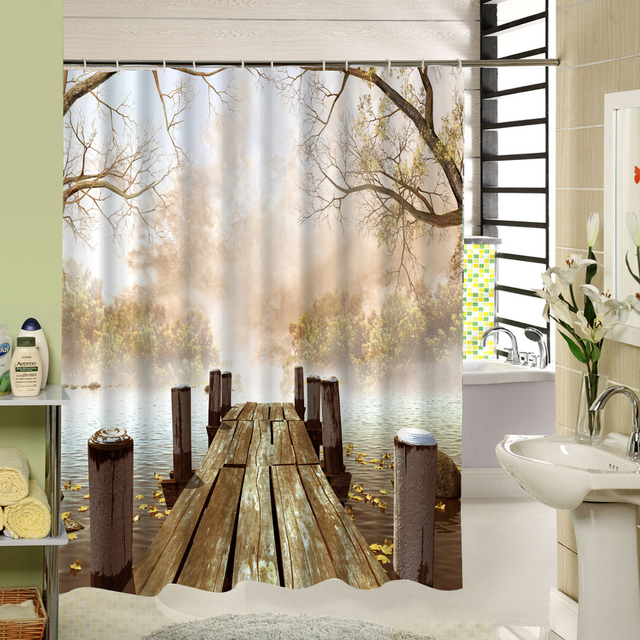 Fall Brown Shower Curtain Waterproof Tree Wooden Bridge Polyester Fabric 3d Printing Design Bathroom Liner