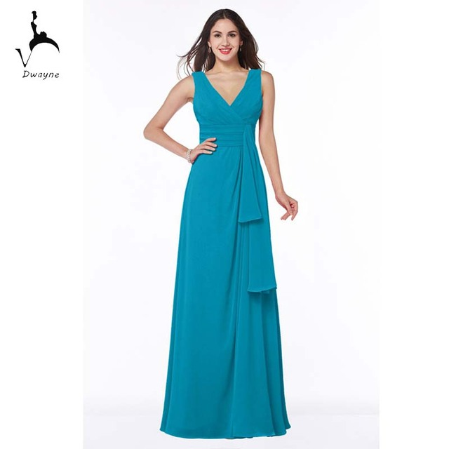 Dwayne Floor Length Formal Bridesmaid Dress V-neck Optional Colors Chiffon Dress Maid of Honor Competitive Price