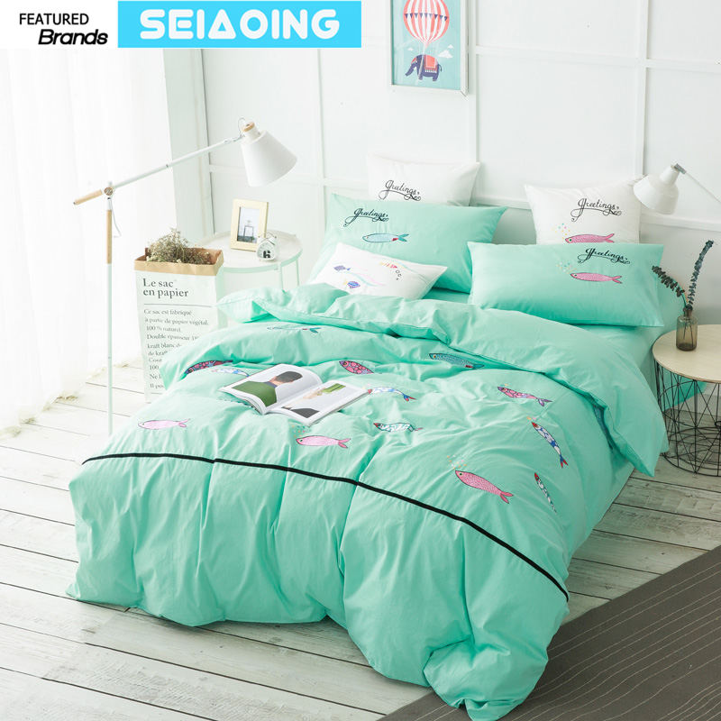 Bubble fish bedding set fresh green bed linens embroidered comforter cover home decor quality 100% cotton sheet queen king sizesBubble fish bedding set fresh green bed linens embroidered comforter cover home decor quality 100% cotton sheet queen king sizes