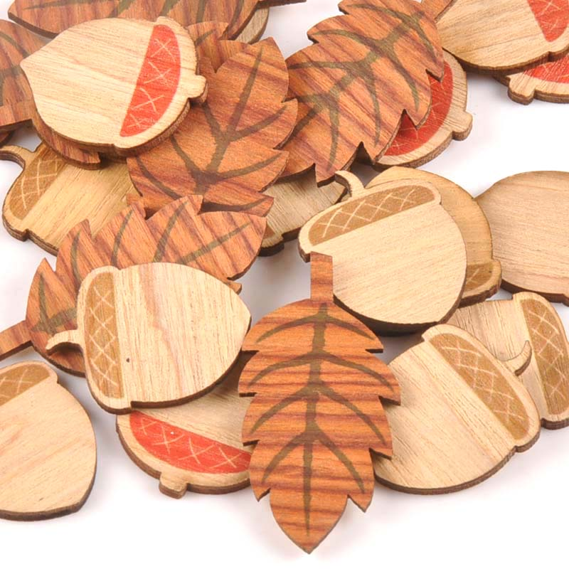 25 шт., смешанный лист/сосновый конус, деревянный для скрапбукинга, ремесло, домашний декор, необработанные ломтики натурального дерева, DIY ук...