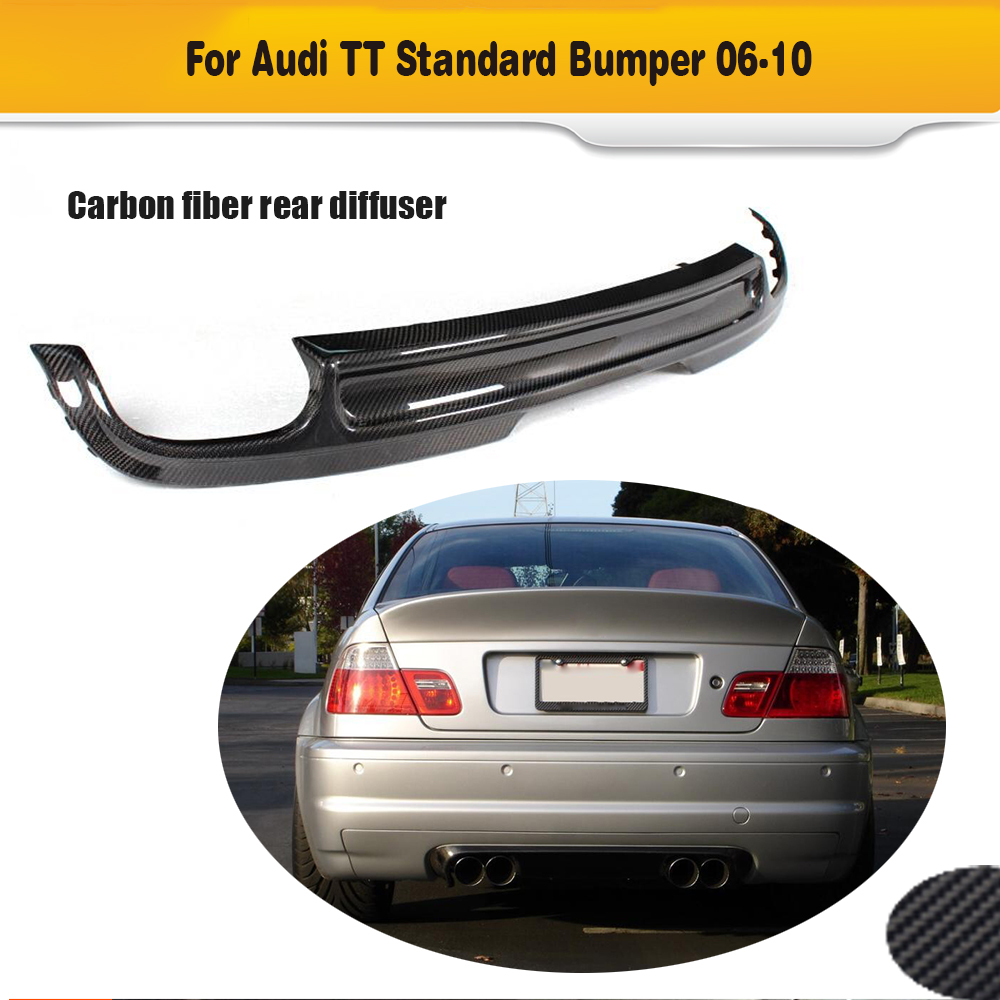 Carbon Fiber Auto Car Diffuser Bumper Lip for Audi TT 8J Standard Bumper Notfit US Car 2008 - 2010 Black FRP