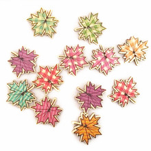 50 pcs 32 32mm Random Mixed Maple Leaf Wooden Buttons Tartan Plaid Sewing Scrapbooking Buttons XP0413