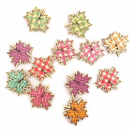 50 pcs 32 32mm Random Mixed Maple Leaf Wooden Buttons font b Tartan b font Plaid