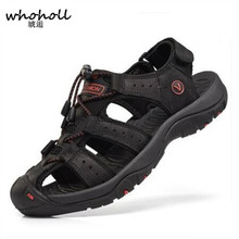 купить WHOHOLL Shoes Men Sandals Genuine Leather Cowhide Men Sandals Summer Quality Beach Slippers Casual Sneakers Outdoor Beach Shoes дешево