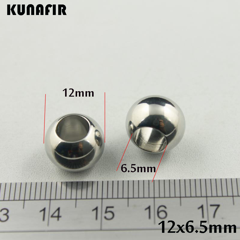 6.5mm hole 12mm smooth stainless steel beads ball jewelry DIY parts accessories 100pcs ZSP031