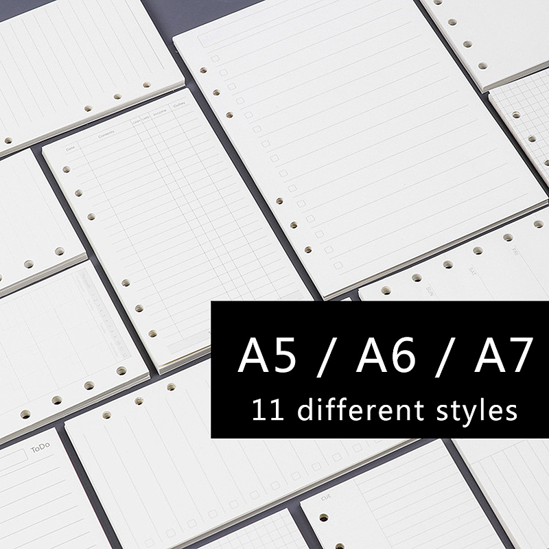 A5 A6 A7 MUJI Style Loose Leaf Notebook Paper Inner Page Refill Spiral Planner Dairy Weekly Monthly Plan To do dotted grid blank standard a5 style leather notebook inside loose leaf page have 6 hole on page paper insde 60 pcs quality kraft blank page
