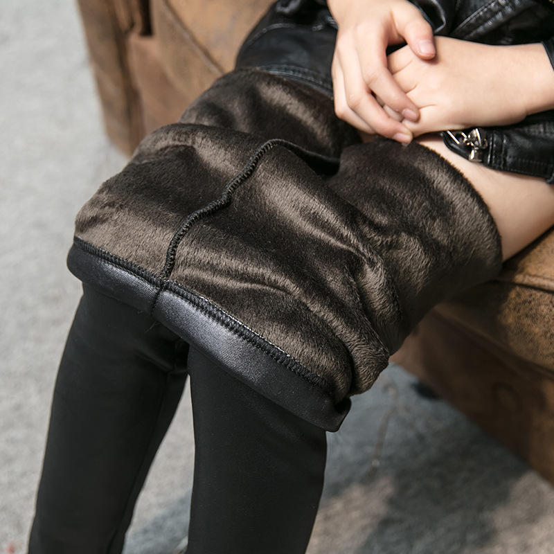 2018 Girls Leggings Winter Kids Thick Velvet Leggings Pencil Pants Workout Fitness Fashion Skinny Trousers Casual Sweatpants