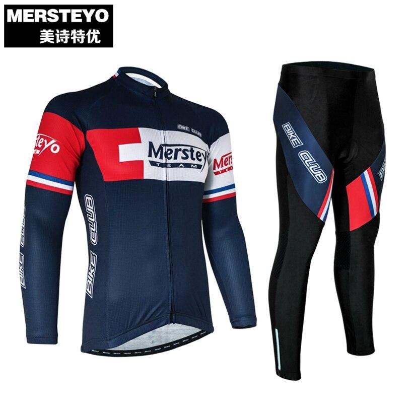 Mersteyo Brand Mens Long Sleeve Clothing Cycling Bike Jersey Riding Jacket/Bike Bicycle Wear Fabric ciclismo