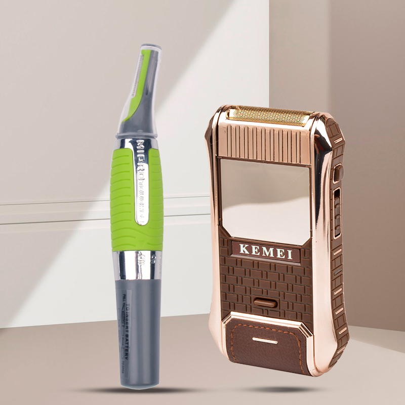 2 In 1 Rechargeable Electric Shaver Beard Trimmer Razor+Eyebrow Ear Nose Trimmer Removal Clipper LED Light Face Care Hair Trimer