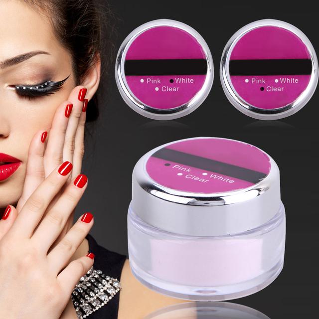 Clear Pink White 3 Colors Acrylic Powder Crystal Nail Polish Nail Phototherapy Crystal Powder Crystal Carved Powder