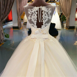 Image 4 - Vestido de noiva longo de renda de tule, vestido de baile, capela, trem, laços, miçangas, vestido de noiva personalizado