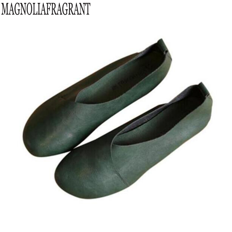 2017 Genuine Leather Flat Shoes Woman Hand-sewn Leather Loafers Cowhide  Flexible Spring Casual Shoes 505968329788