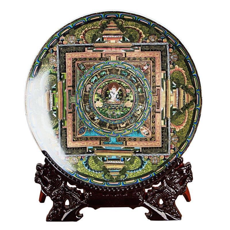 Jingdezhen-assiette décorative en porcelaine | Céramique tang-ga assiette suspendue, métope pour salon hôtel