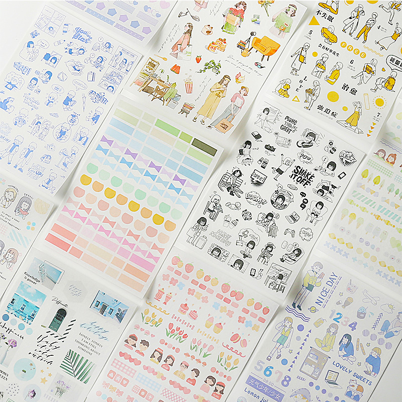 1PC Different Patterns Planner Sticker Set Decorative Stickers DIY Scrapbooking Photo Label Diary Stickers Stationery