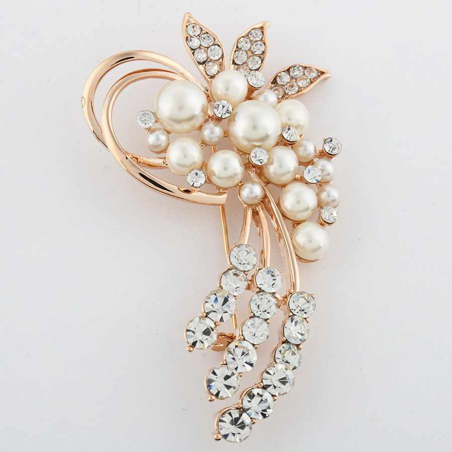 Full Bling rystal Leaf Brooches Pins Vintage Style Imitation Pearl Big Women Brooch Wedding Accessories Jewelry