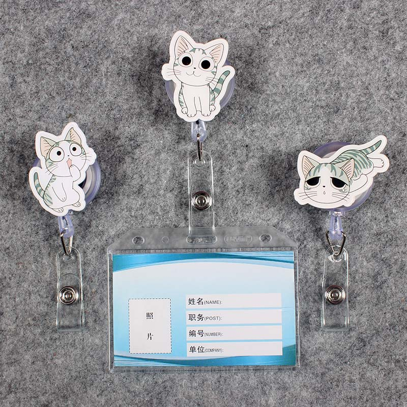 Grey Cat Women & Men Badge Scroll Nurse Reel PVC Character Scalable Colors School Girls Exhibition ID Plastic Doctor Card Holder