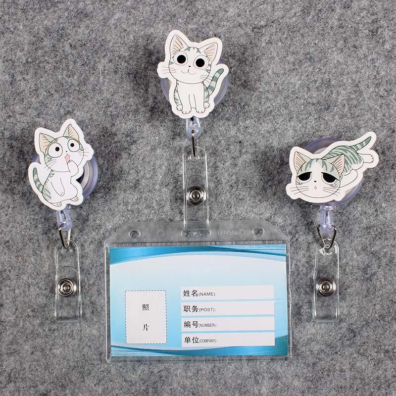 Grey Cat Women & Men Badge Scroll Nurse Reel PVC Character Scalable Colors School Girls Exhibition ID Plastic Doctor Card Holder