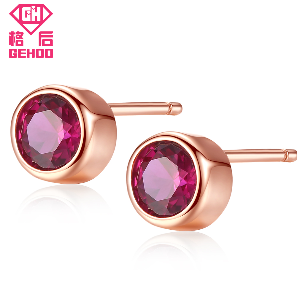 GEHOO Solid 925 Sterling Silver Women Ear Fine Jewelry Round Red Ruby Earrings Stud Gift Vintage Charm Earrings Wedding Brinco