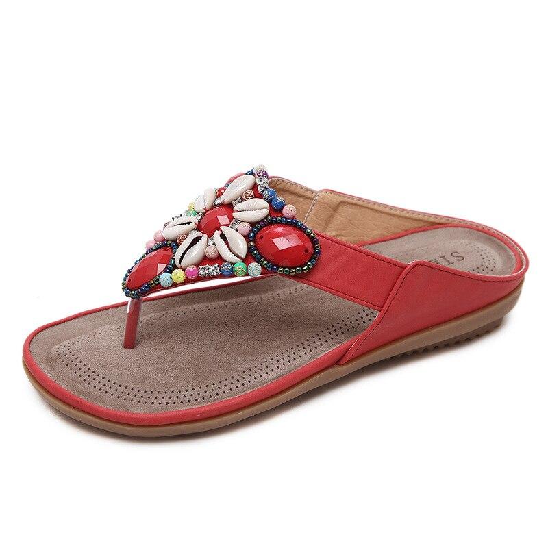 Quanzixuan женская обувь летние дамские слипперы модные Вьетнамки Повседневные шлепки Строка из бисера обувь Для женщин большой Размеры размер...