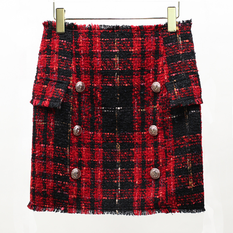 New temperament of fund of 2017 autumn double-breasted coat fringed chequered woolen cloth skirts