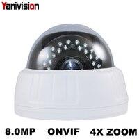 2.8-12mm Zoom 8MP 5MP 1080 P Câmera IP POE Plástico H.265 IR Indoor Dome IP de Detecção de Movimento night Vision ONVIF