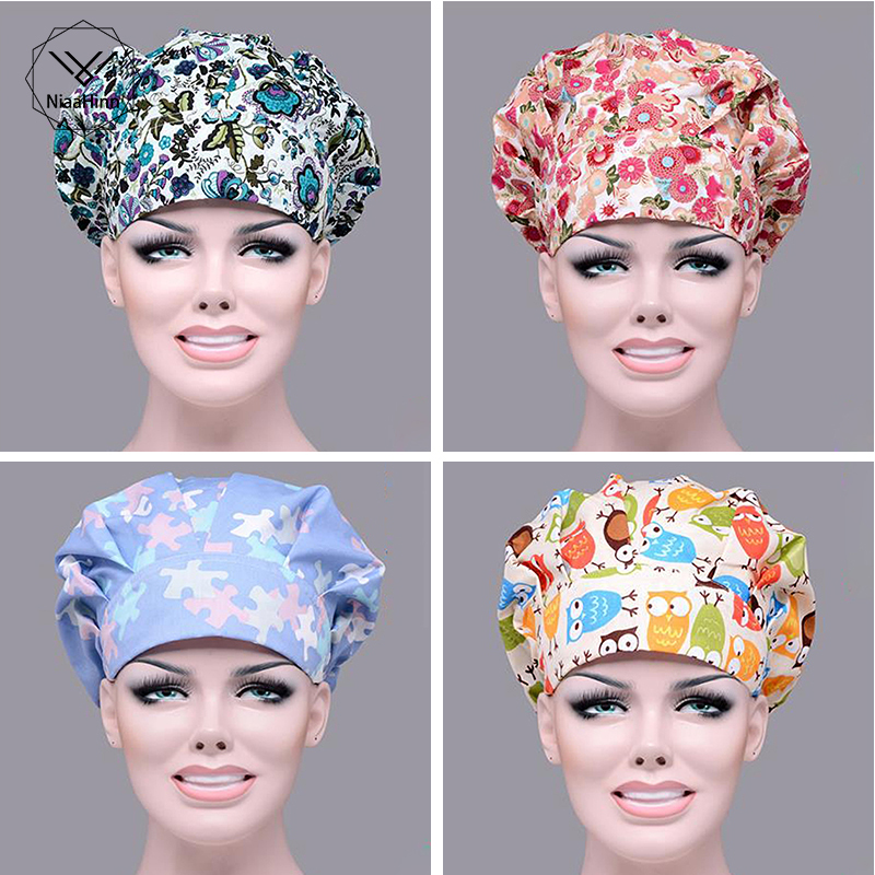 Hospital Pet Clinic Beauty Salon Doctor Man Woman Surgical Cap Scrub Cap Absorb Sweat Adjustable Long Hair Nurse Scrub Hats New