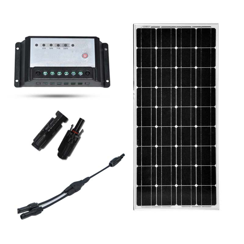 Solar Panel 100W 12V Off Grid Kit for RV Boat PWM 10A Charge Controller Battery Charger Kit Caran Camping Home MC4 Connector boguang 110v 220v 300w mini solar inverter 12v dc output for olar panel cable outdoor rv marine car home camping off grid