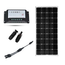 Solar Panel 100W 12V  Off Grid Kit for RV Boat PWM 10A Charge Controller Battery Charger Kit Caran Camping Home  MC4 Connector  500w off grid system complete kit 5 100w poly pv solar panel with 45a controller for 12v battery