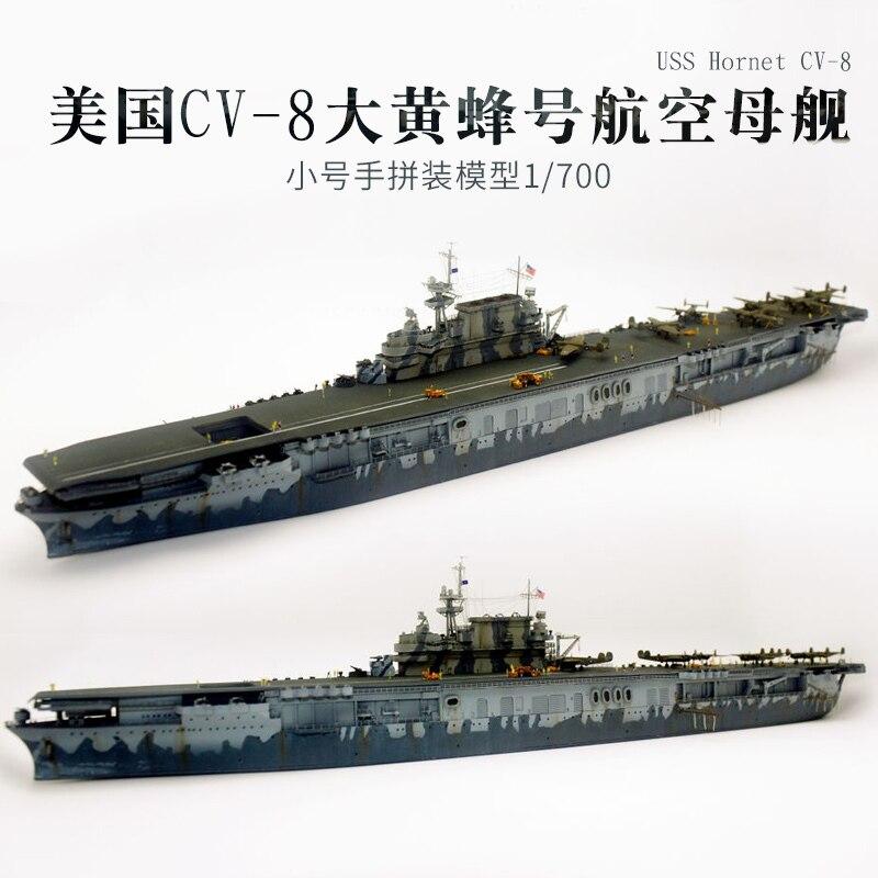 Wenhsin Assembling Aircraft Carrier Model 1/700 U.S.A Navy Big Wasp Number Aircraft Carrier CV8 Adult Toys Ship 1 400 jinair 777 200er hogan korea kim aircraft model