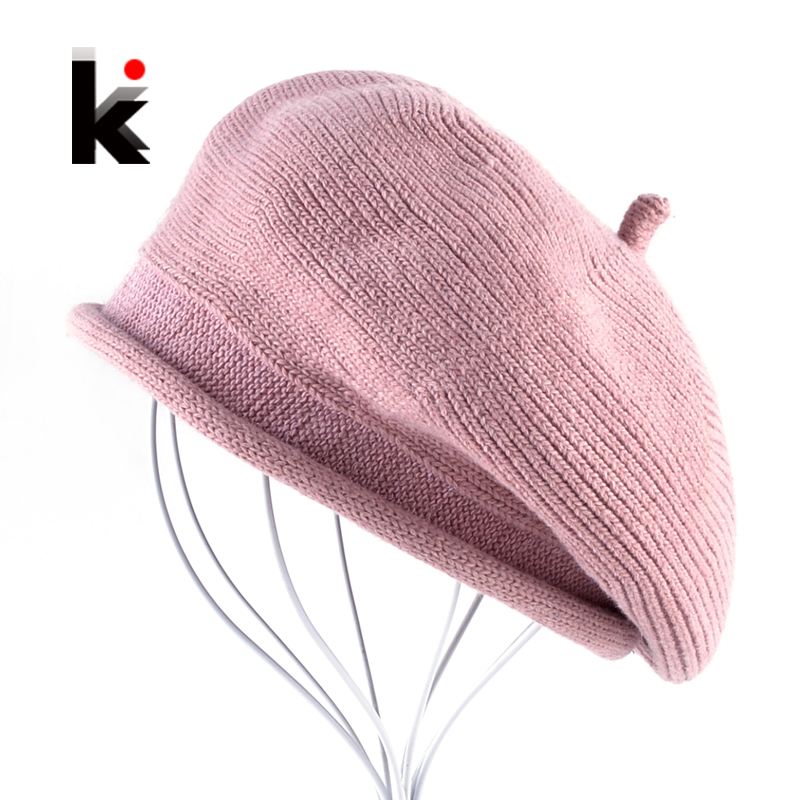 b848a96a382 Details about Wool Berets Hats For Women Winter Autumn Knitted Woolen Caps  Lady Solid Knit