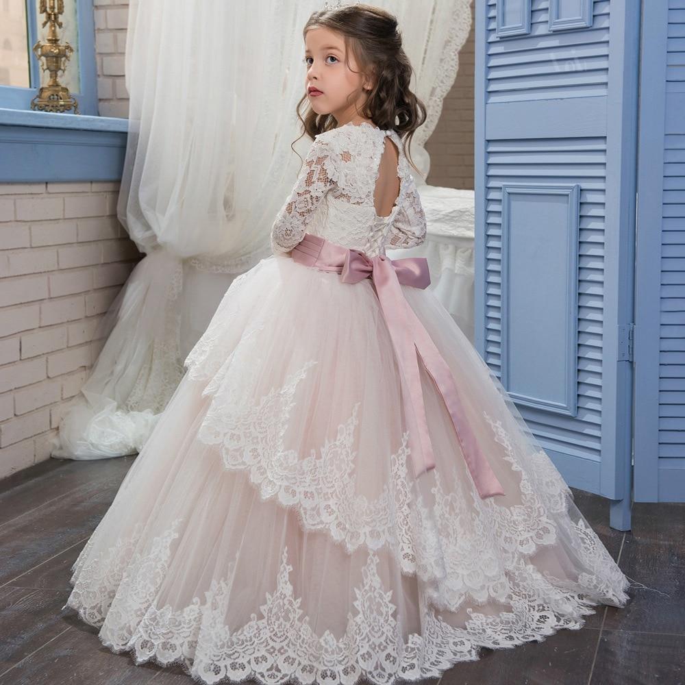 Blush Pink Lace Flower Girls Dresses Long Sleeve Fairy Princess A