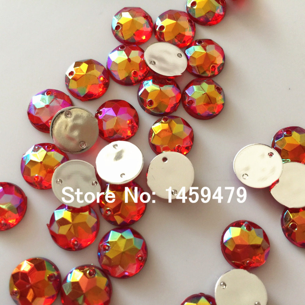 250 Mixed Color Acrylic Flatback Sewing Rhinestone Round Button 20mm Sew on bead