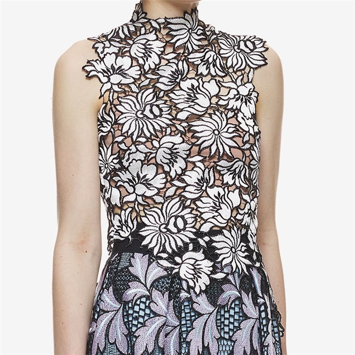 PADEGAO New arrive solid cutting lace vest hollow out flower pattern elegant female short tops 2016