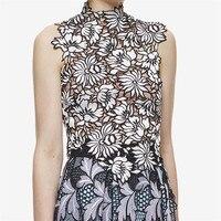PADEGAO Nouveau arrivent solide de découpe dentelle gilet évider fleur motif élégant femme court tops 2016 auto portrait dames vêtements