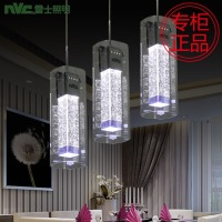 Fashion Modern High Quality Bubble Crystal Column Glass 3 Heads Led Pendant Light For Dining Room