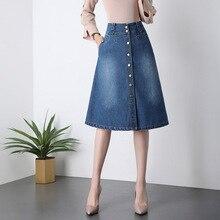 Woman Plus Size Denim Skirt 2019 New Spring Summer Korean Style Woman High Waist Single-breasted A Line Denim Midi Skirt Faldas girls single breasted denim skirt