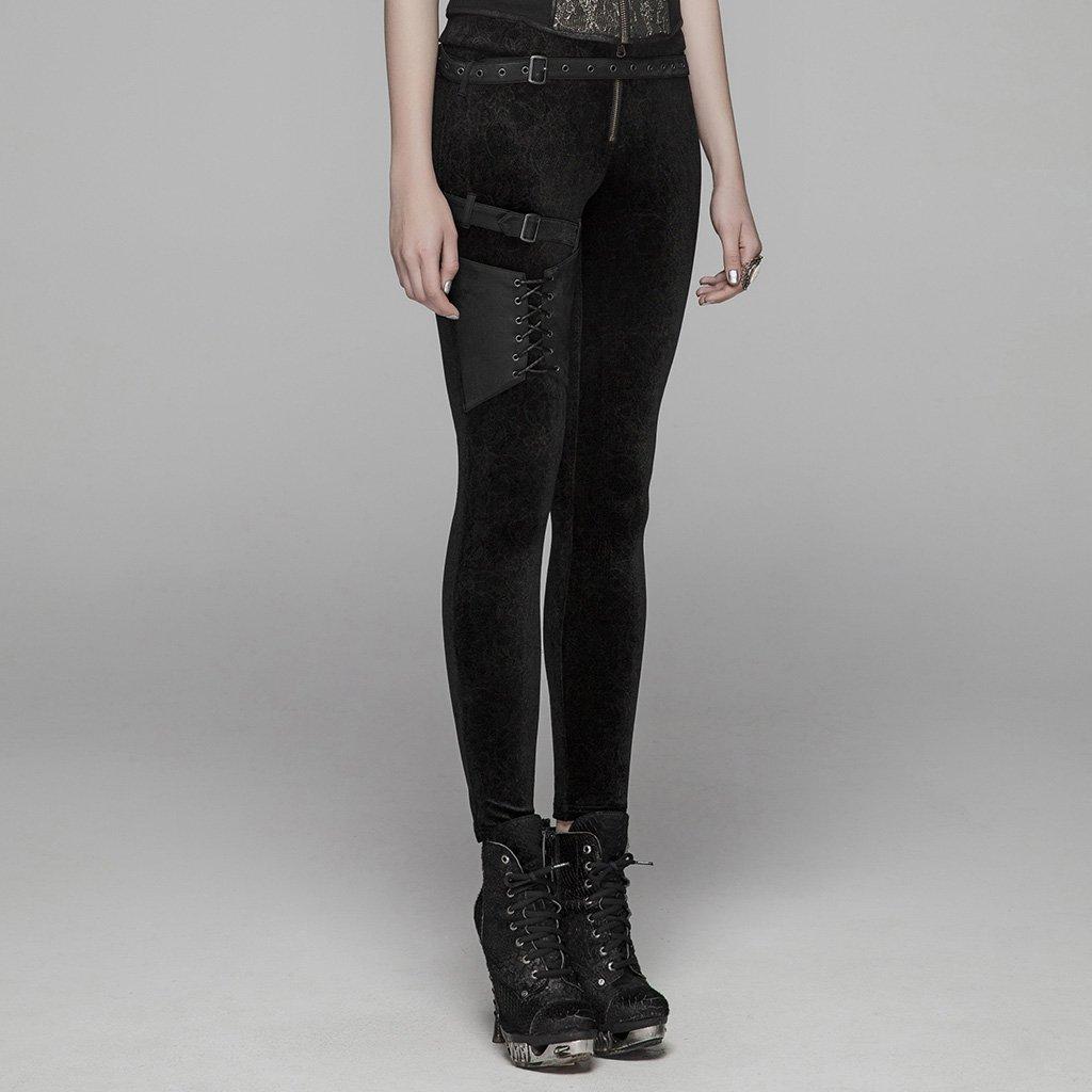 PUNK RAVE femmes gothique laçage Leggings mode Steampunk rétro velours crayon pantalon avec cuir Skinny pantalon - 2