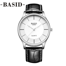 BASID Women Watches In Box Leather Band Simple Quartz Wristwatches Fashion Casual Lover Couple Watch Female Ladies reloj hombre