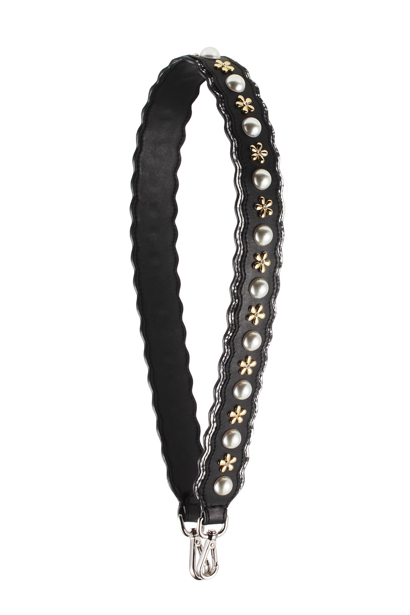Sorores Semper 2017 new strapyou shoulder strap parts black pearl diamond cow leather bag accessories PJ023 sorores semper new handbags strap women genuine leather belts embroidery bag parts cow leather accessory pj021